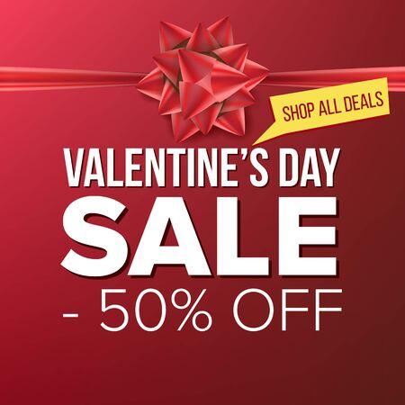 Valentine s Day Sale Banner Vector. February Sale Poster. Marketing Advertising Design Illustration. Template Design For Valentine Poster, Brochure, Love Card, Shop Discount Advertising. Illusztráció