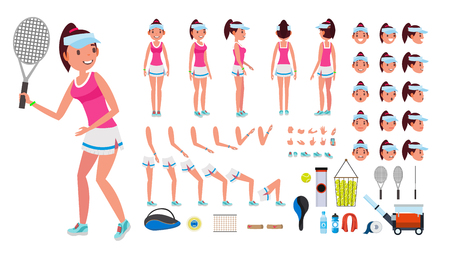 Tennis Player Female Vector. Animated Character Creation Set. Tennis Player Girl, Woman. Full Length, Front, Side, Back View, Accessories, Face Emotions, Gestures Isolated Cartoon Illustration.