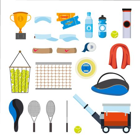 Tennis Icons Set Vector. Tennis Accessories. Yellow Ball, Racket, Net, Pouch Isolated Cartoon Illustration. Çizim
