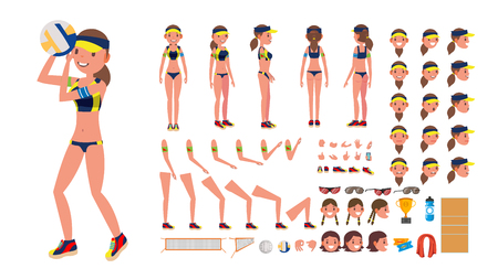 Volleyball Player Vector. Beach Volleyball Female Sport. Animated Character Creation Set. Full Length, Front, Back View, Accessories, Poses, Face Emotions, Gestures. Isolated Flat Cartoon Illustration  イラスト・ベクター素材