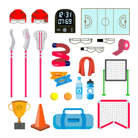 Lacrosse Icons Set Vector. Lacrosse Accessories. Gates, Net, Glasses, Mask, Stick, Helmet, Box, Timer, Plotter, Ball. Isolated Flat Cartoon Illustration.