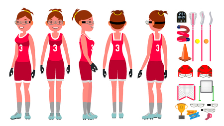 Women s lacrosse Vector. Lacrosse Practice. Teammates. Aggressive Women s player. Isolated Flat Cartoon Character Illustration