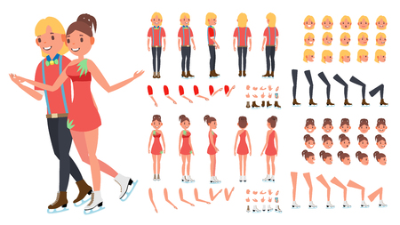 Figure Skating Couple Vector. Woman And Male. Ice Skating. Animated Character Creation Set. Full Length, Front, Side, Back View, Face Emotions, Gestures. Isolated Flat Cartoon Illustration Ilustração