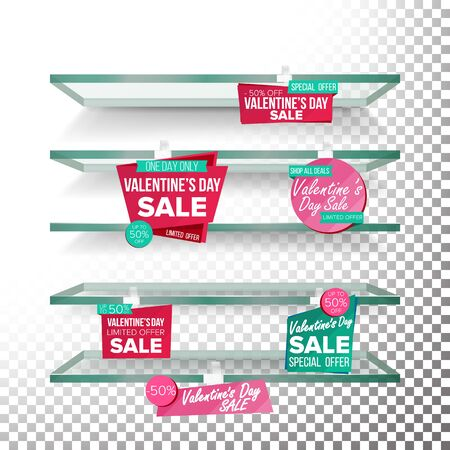 Supermarket Shelves, Valentine s Day Sale Advertising Vector. Retail Sticker Concept. Mega Sale Design Concept. February 14 Best Offer. Discount Sticker. Love Sale Banners.