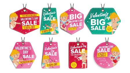 Valentines Day sale tags vector. Flat February 14 special offer love stickers. Cupid. 50 off text. Hanging red, green banners with half price. Modern illustration. Illustration