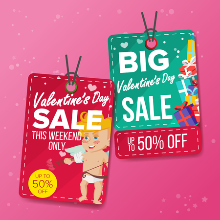 Valentine s Day Theme Sale Tags Vector. Flat Paper Hanging Love Stickers. Cupid. February 14 Discount Hanging Banners For Holiday Discount Promotion. Winter Illustration.