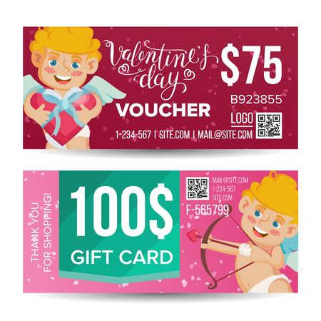 Valentine s Day Voucher Design Vector. Horizontal Discount. February 14. Valentine Cupid And Gifts. Love Advertisement. Marketing Red Illustration