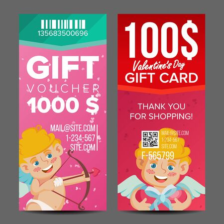 Valentine s Day Gift Voucher Vector. Vertical Coupon. February 14. Valentine Cupid And Gifts. Shopping Advertisement. Business Love Gift Red Illustration