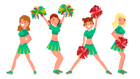 Female Cheerleader Vector. Different Poses. Dancing Sheerleading Woman Team. Gymnast Team In Uniform. Isolated On White Cartoon Character Illustration Illustration