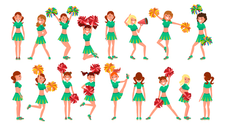 High-School Profession Cheerleading Teams Vector. In Action. Fans Girls Dancing With Pompoms. Jumping And Dancing Together. Cartoon Character Illustration Vettoriali