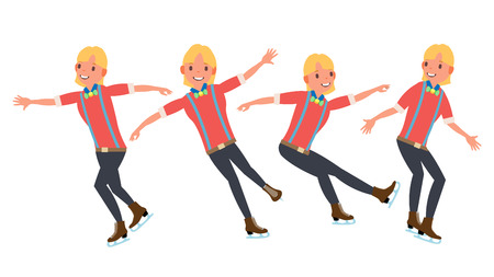 Boy Figure Skater Vector. Winter Sports. Skater Male. Different Poses. In Action. Flat Cartoon Illustration Illustration