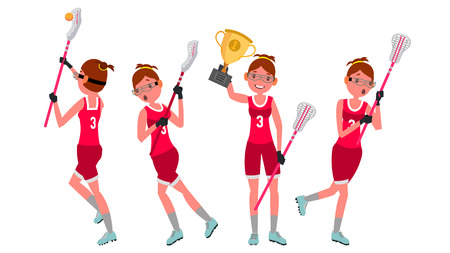 Lacrosse Girl Vector. Catch The Ball. Running. Teammates In Different Poses. Sport Competitions. Cartoon Character Illustration
