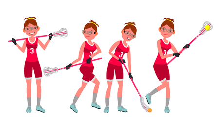 Female Lacrosse Player Vector Holding Lacrosse Stick.
