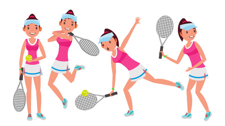 Female Tennis Player graphic. Woman in Tennis Sport, Athlete with Different Poses in Cartoon Character Illustration.