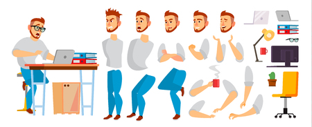 Business Character Vector. Working Male. Environment Process In Office Or Creative Studio. Set For Animation. Full Length. Programmer, Designer, Manager. Poses, Face Emotions, Gestures. Isolated Flat Cartoon Illustration Banco de Imagens - 93149539
