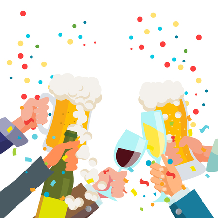 Drink Party Poster Vector. Chin-chin. Victory Celebration Concept. Tintineo de vasos con alcohol. Ilustración plana aislada Ilustración de vector