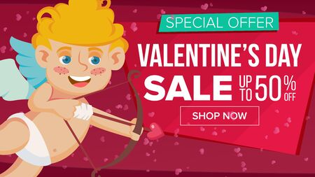Valentine s Day Sale Banner Vector. Happy Amour. Design For Web, Flyer, February 14 Card, Advertising. Limited Clearance. Business Advertising Illustration.
