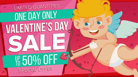 Valentine s Day Sale Banner Vector. Cute Amour. Template Design For February 14 Poster, Brochure, Card, Shop Discount Advertising. Advertising Design Illustration.