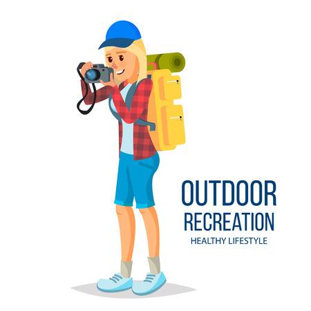 Hiking Girl Vector. Leading Healthy Lifestyle. Downshifting. Flat Cartoon Illustration Illustration