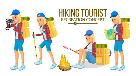 Hiking Girl Vector. Sports, Outdoor Recreation Concept. Hiking Tourist. Cartoon Character Illustration Illustration