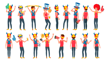 Man Supporting Sport Team Vector. Different Poses. People On Football, Soccer, Hockey Field Bleachers. In Action. Flat Cartoon Illustration