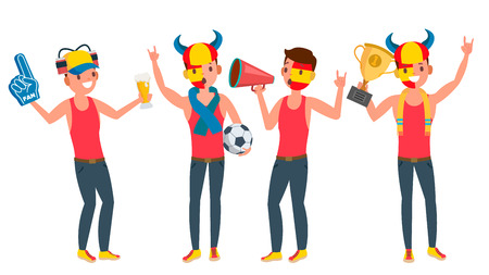 Team of men supporter vector. Young man with flags and accessories fans. Fan rooter buff in action isolated flat cartoon character illustration.
