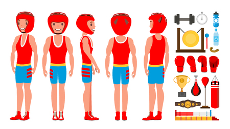 Professional Boxer Boxing Vector. Boxer Champion On Arena. Different Poses. Isolated Flat Cartoon Character Illustration