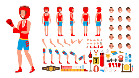 Boxing Player Vector. Animated Character Creation Set. Fighting Sportsman Male. Full Length, Front, Side, Back View, Accessories, Poses, Face Emotions Gestures Isolated Cartoon Illustration Vectores