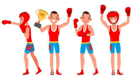 Professional boxers vector illustration. Boxer champion on the arena with different poses isolated flat cartoon character illustration. Illustration