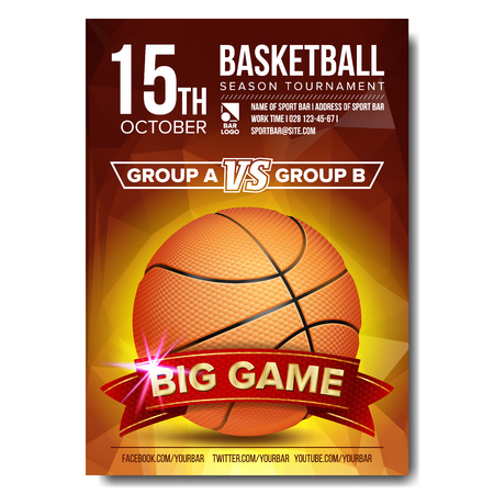 Basketball Poster Vector. Basketball Ball. Design For Sport Bar Promotion. Basketball Academy Flyer. Invitation Illustration