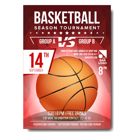Basketball Tournament Modern Sports Posters Design Vector