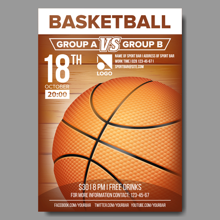Basketball Poster Vector. Sport Event Announcement. Banner Advertising. Professional League. Event Illustration