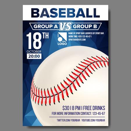 Baseball Poster Vector. Banner Advertising. Sport Event Announcement. Announcement, Game, League Design Championship Illustration