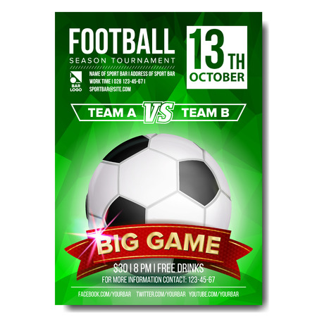 Soccer Poster Vector. Banner Advertising. Sport Event Announcement. Ball. Announcement, Game, League Design Championship Illustration