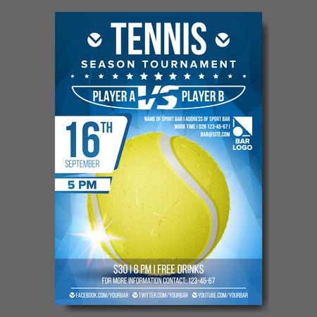 Vetor de cartaz de tênis. Bola de tênis. Projeto vertical para promoção de barra de esporte. Flyer de tênis. Ilustração do convite Ilustración de vector