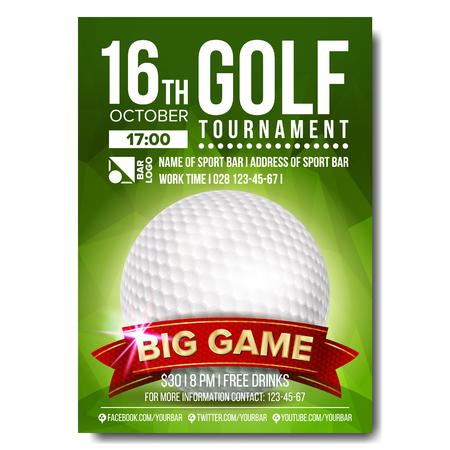 Golf Poster Vector. Golf Ball. Vertical Design For Sport Bar Promotion. Tournament, Championship Flyer Design. Golf Club Flyer. Invitation Label Illustration