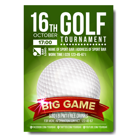 Golf Poster Vector. Golf Ball. Vertical Design For Sport Bar Promotion. Tournament, Championship Flyer Design. Golf Club Flyer. Invitation Label Illustration