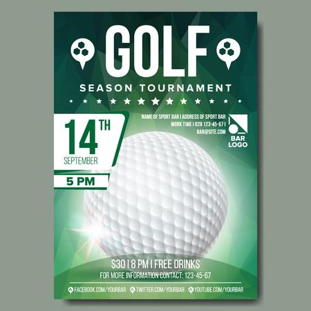 Golf-Plakat-Vektor. Golfball. Vertikales Design für Sport Bar Promotion. Turnier, Meisterschaft Flyer Design. Golfclub-Flyer. Einladungsetikett Illustration Vektorgrafik
