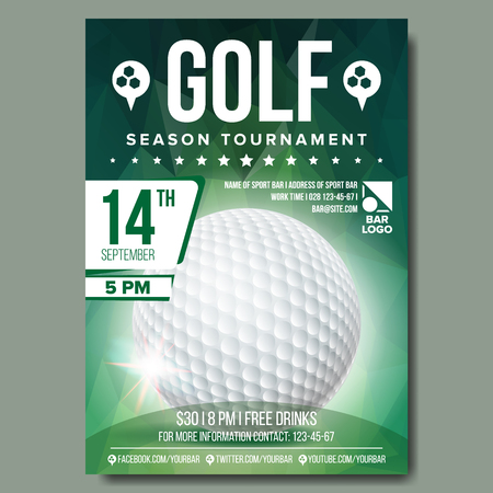 Vetor de cartaz de golfe. Bola de golfe. Projeto vertical para promoção de barra de esporte. Torneio, Campeonato Flyer Design. Folheto de clube de golfe. Ilustração de etiqueta de convite Ilustración de vector