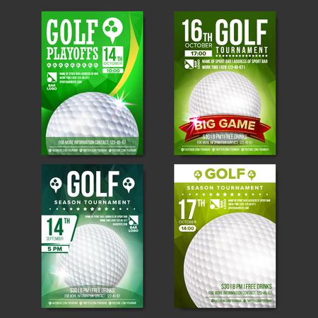 Golf Poster Set Vector. Design For Sport Bar Promotion. Golf Ball. Modern Tournament. Sport Event Announcement. Banner Advertising. Championship Template Illustration