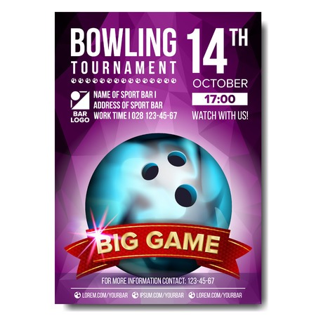 Bowling poster vector. Sport event announcement. Banner advertising. Professional league. Vertical sport invitation template. Event label illustration.