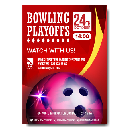 Bowling Poster Vector. Design For Sport Bar Promotion. Bowling Ball. Modern Tournament. A4 Size. Championship Bowling League Flyer Template. Game Illustration Illustration
