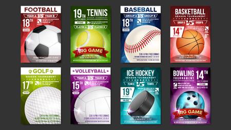 Sport posters set vector. Golf, baseball, ice hockey, bowling, basketball, tennis, soccer, football. Vertical design for sport bar promotion, tournament, flyer. Club invitation illustration.