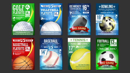Sport posters set vector. Golf, baseball, ice hockey, bowling, basketball, tennis, soccer, football. Banner advertising. Event announcement ball A4 size game design. Championship label illustration.