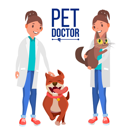 Veterinarian Female Vector. Dog And Cat. Medicine Hospital. Pet Doctor, Nurse. Health Care Clinic Concept. Isolated Flat Cartoon Illustration