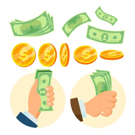 Money Concept Vector. Paper Dollar And Gold Coins. Various Angles. Isolated Flat Cartoon Illustration