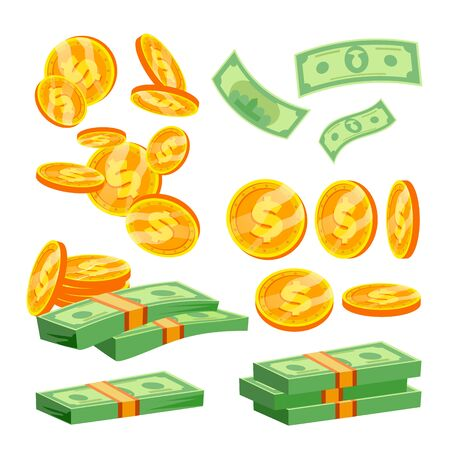 Packages Of Banknotes Vector. Pile Of Cash. Dollar Stack. Hundreds Of Dollars. Isolated Flat Illustration Illustration