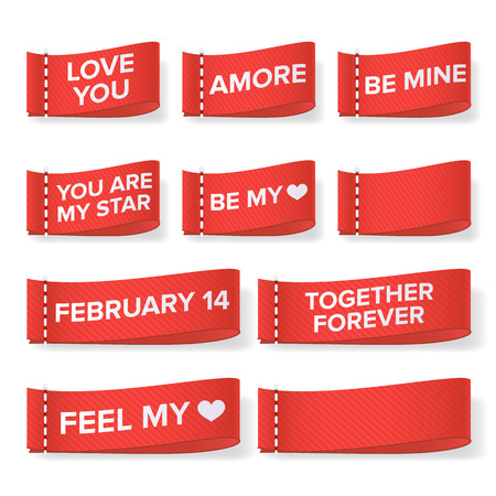 Valentines Day clothing labels vector. Love you, amore, be mine, you are my star, together forever, feel my heart isolated illustration.