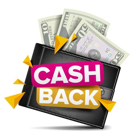 Remise en argent concept vecteur. Portefeuille réaliste, papier-monnaie. Paiement en ligne, Shopping. Signe de remboursement en espèces. Isolé Vecteurs