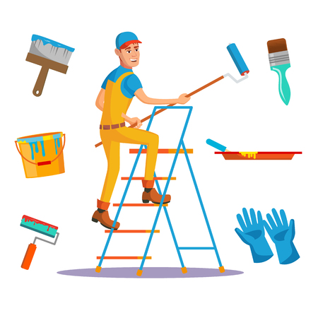 Professional Painter Vector. Painting Brush, Roller. Craftsman Painting Wall. Flat Cartoon Illustration Stok Fotoğraf - 93701759
